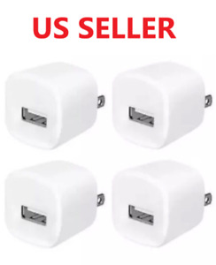 4x White 1A USB Power Adapter AC Home Wall Charger US Plug FOR iPhone 5 6 7 8