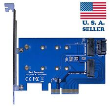 M.2 PCIe SSD to PCIe 3.0 x4 and M.2 SATA SSD to SATA III Adapter Card