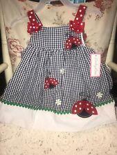 Emily Rose Girls 12 mos Dress Ladybug Sundress Seersucker Red Blue White 2 pc
