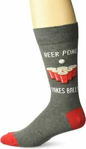 NEW Hot Sox Men's Booze Novelty Casual Crew Socks, Beer Pong Charcoal Grey