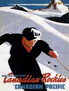 SPORT WINTER SNOW SKIING CANADIAN ROCKIES CANADA VINTAGE ADVERT POSTER 2084PY