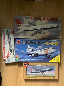 1/144 Scale Airfix Revell  Job lot DC-9 DC-10 L-1011 Vanguard x4