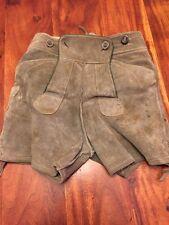 Vintage German Lederhosen Leather Suede Child's Hunter Green Shorts (LS)