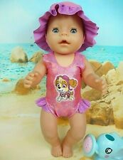 """Dolls clothes for 17"""" Baby Born Doll~PAW PATROL SKYE PINK SWIMMING COSTUME~HAT"""