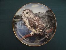 Barred Owl collector plate On The Lookout Trevor Boyer Owls Danbury Mint