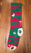 Vintage Christmas Stocking Large HAND KNIT Striped Decorated OOAK