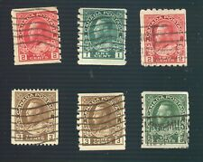Canada #124 and 5 other used George V Admiral Coil stamps (1912-1924)