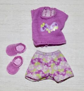 KELLY DOLL CLOTHES * FLORAL PURPLE SHORT & TEE SET w/JELLY SANDALS  * 2002