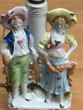 "VINTAGE CERAMIC 18TH c COUPLE / SHEPHERDS (?) TABLE LAMP 5"" X 11"" TALL"