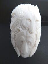 Spirit Wolf Bear Eagle Protection Amulet Carved Bovine Bone Pendant Necklace
