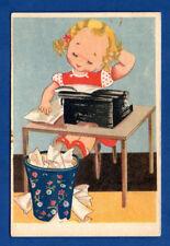 GIRL AND Typewriter VINTAGE POSTCARD 165