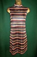 New NEW LOOK UK 14 Rust Black Fine Metallic Knit Sleeveless Tunic Top Mini Dress