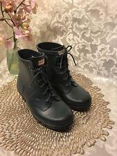 Hunter Lace Up Rain Boots Deep Blue Rubber Chunk Heel Girls 4M Wmns 5M EUC