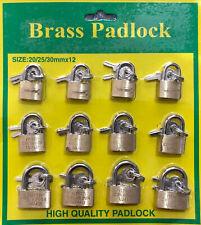 New 12 X Brass Padlock 202530mm Smallminitiny Toollocker Security Lock