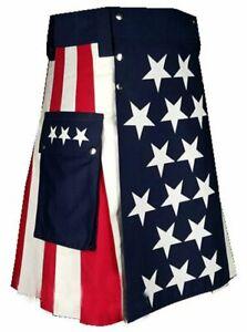 "Flag Kilt 100% Cotton Hybrid Kilt for Men Sizes (28"" to 52"") Inches"