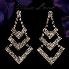 18K Gold Plated GP Clear Crystal Rhinestone Wedding Drop Dangle Earrings 08819
