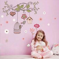 wall stickers bird cage flower branch Vine Removable Nursery Kid Baby Art decor