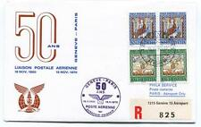 FFC 1970 Swissair Special Flight Geneve Paris REGISTERED 50ans Helvetia