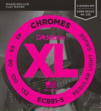 D'Addario ECB81-5 XL Chromes Flat Wound Bass Guitar Strings 45-132 five string