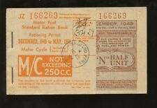 GB MOTORCYCLE FUEL RATION BOOK COMPLETE AUTHORISED 1949