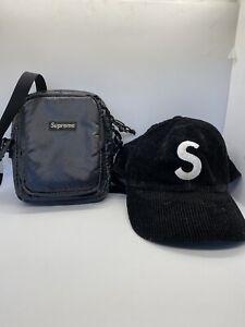 supreme corduroy hat and side bag