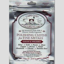 "2pk CAPE COD Fine Metal Polish Cloth 4""x 6"" Watches Jewelry Cleans & Polish New!"