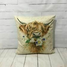 Highland Cow Cushion Cover Countryside Watercolour Printed Vintage Animal Gift