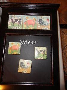 """BLACK WOODEN WALL HANGING KITCHEN MENU BOARD W 3 COW PIG ROOSTER MAGNET 14X9.5"""""""