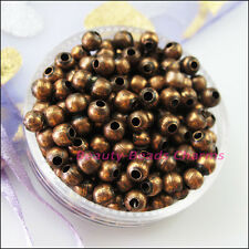20Pcs Metal Round Ball Spacer Beads Charms 8mm Gold Silver Bronze Copper Plated
