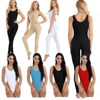 Women Adult Spandex Sleeveless Tank Top Leotard Unitard Yoga Dance Full Bodysuit