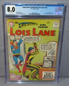 SUPERMAN'S GIRLFRIEND LOIS LANE #14 (Batman Photograph) CGC 8.0 VF DC Comic 1960