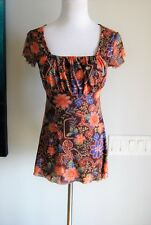 Sweet Pea Women's Brown Floral Nylon Short Sleeve Blouse Size Medium