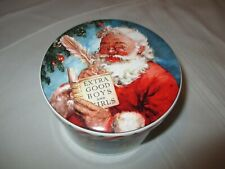 Vintage Daher Christmas Santa Claus Tin Container w/Lid Made in England