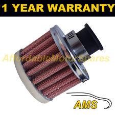 9mm De Aire Mini Aceite Manivela Funda Respirador de filtro se adapta a los coches más Rojo Y Cromo Redonda