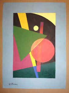 IVAN KLIUN Signed Painting GREEN TRIANGLE Abstract Avant Garde Russian Art