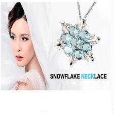 Silber Schneeflocke Anhänger elegante weibliche natürliche Aquamarin Halskette