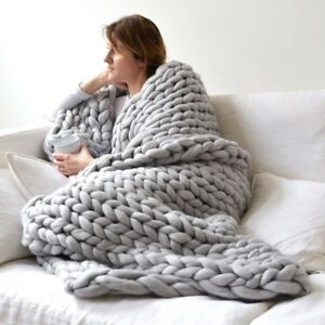 Chunky Knitted Thick Blanket Winter Warm Hand Yarn Merino Bulky Throw Sofa Knit