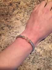 David Yurman Cable Solid 14K Gold Buckle Bangle Bracelet - Sterling Silver 5mm