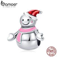 Bamoer Cute S925 Sterling Silver Enamel snowman charm Winter Bead Fit Bracelet