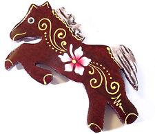 Magnet Aimant Cheval poney Bois Frigo Artisanal Animal horse Fleur wooden