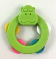 Fisher Price Green Hippo Rattle Tambourine Baby Toy Vintage 1977