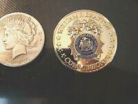 VERY RARE SIVER IN COLOR NYPD 5 STAR COMMISSIONER WILLIAM BRATTON COIN