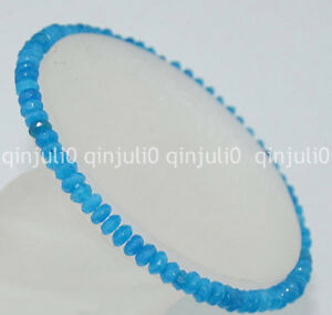 Faceted 2x4mm Blue sapphire Roundlle Gemstones Beads Bracelet 7.5 inch