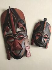 African 🎭 Mask LOT Vintage wood carved Wall decor home Shaman Ritual amulet USA