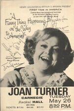 Joan Turner Autographed Flyer Legendary British Comedienne / Singer D.09