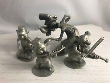 Vintage Hudson Pewter Walt Disney Big Bad Wolf & 3 Little Pigs Figurine Set