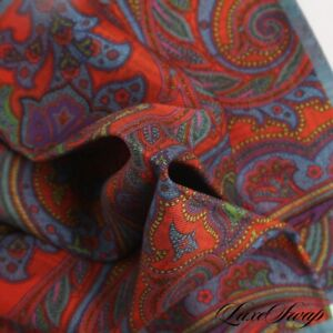 NWOT Made in Italy 100% Silk Slate Blue Orange Ornate Paisley Pocket Square NR