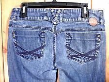 XOXO Jeans Size 9/10 Jr/Women Straight Leg Double Button Closure Med Wash & Rise