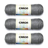 3 Skeins Caron Simply Soft Heathers yarn, Gray Heather, Gauge 4 Medium Worsted