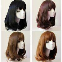 Lady Medium Long Neat Bang Full Wig Wavy Curly Brown/Black Hair Cosplay Costume